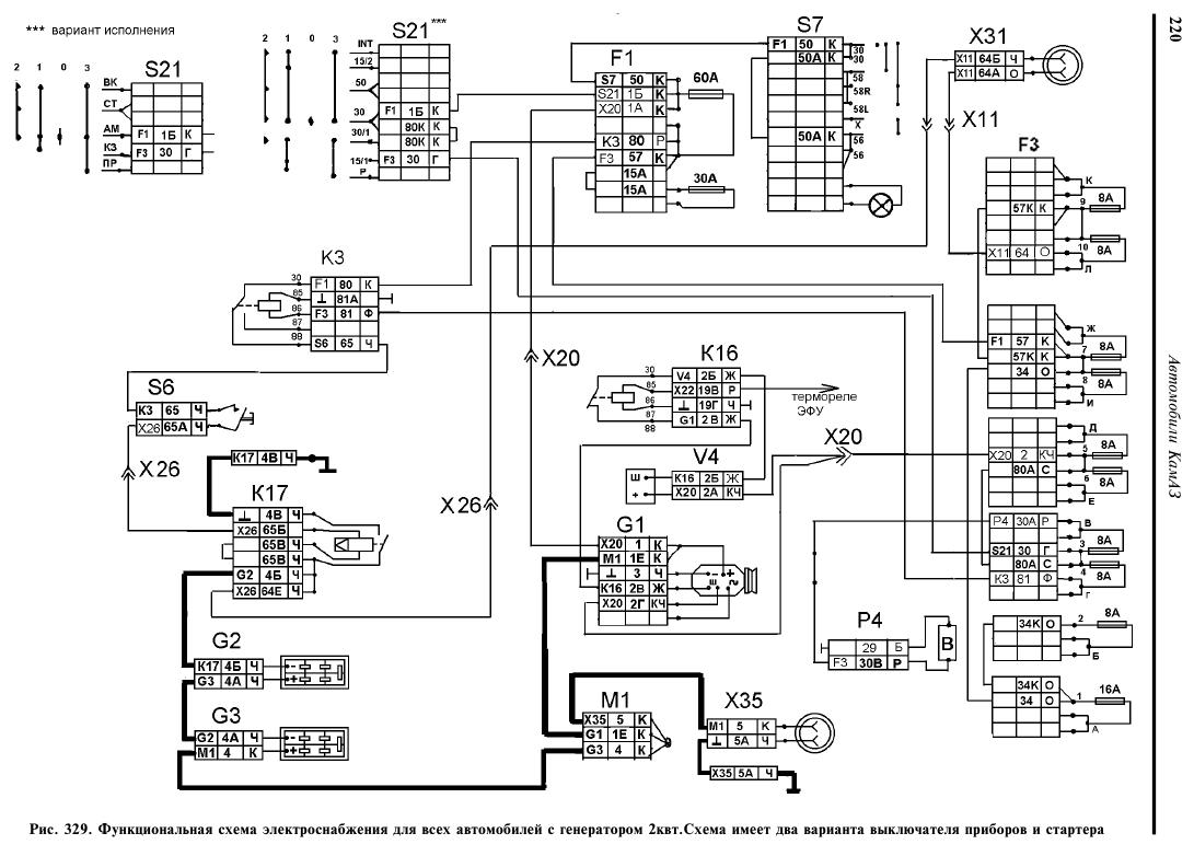 схема проводки на камазе 43114