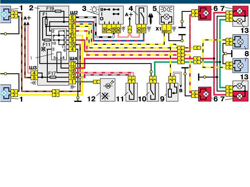 Электрическая схема габаритов ваз 2112